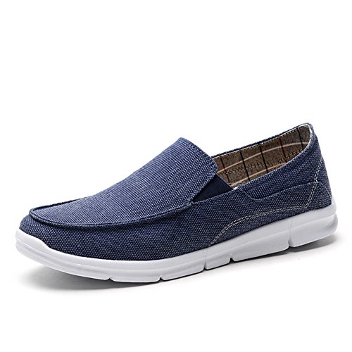 TIOSEBON Men's Slip-On Penny Loafers Flat Canvas Boat Casual Driving Shoes 7.5 US Dark Blue