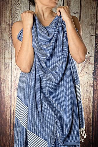 Happy Towels Hamamtücher | Dunkelblau und Weiß | 210 cm x 95 cm | Badetuch | Saunatuch | 60% Viscose und 40% Bio-Baumwolle | Fairtrade