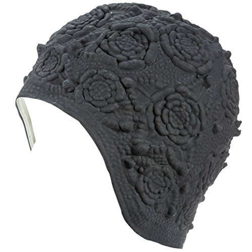 Latex Swim Cap - Women Stylish Swimming Cap Great for Ladies, Perfect to Keep Hair Dry - Suitable for Long Hair - Embossed Flower Ornament - Black