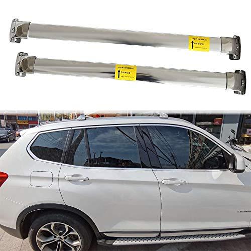 UDP 2 barras transversales de acero inoxidable plateadas, barras transversales para el techo, rieles laterales para equipaje y equipaje, para BMW X1 F48 2016-2020