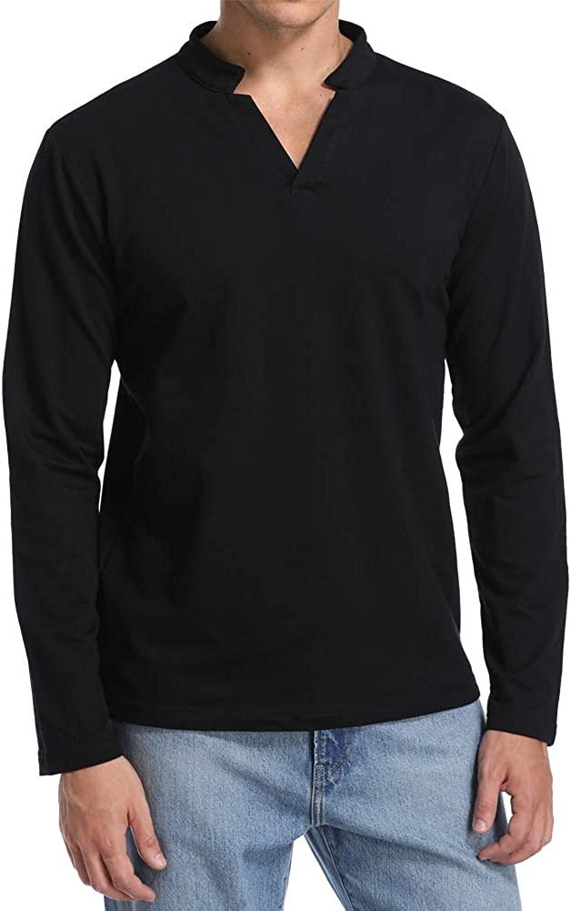 Derssity Ranking TOP18 Max 81% OFF Mens Fashion Long Sleeve Henley T-Shirt Pl Front Casual