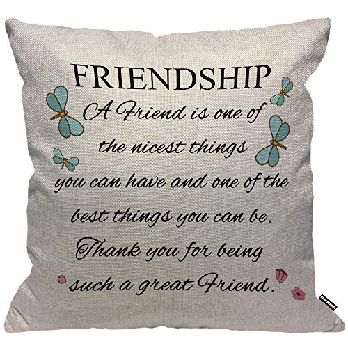 HGOD DESIGNS Cushion Cover Friendship Quotes A Friend is One of The Nicest Things Gift To Friends,Throw Pillow Case Home Decorative for Living Room Bedroom Sofa Chair 18X18 Inch Pillowcase 45X45cm