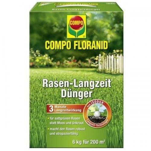 COMPO Floranid Rasen-Langzeitdünger 6 kg, Volldünger, Langzeitdünger