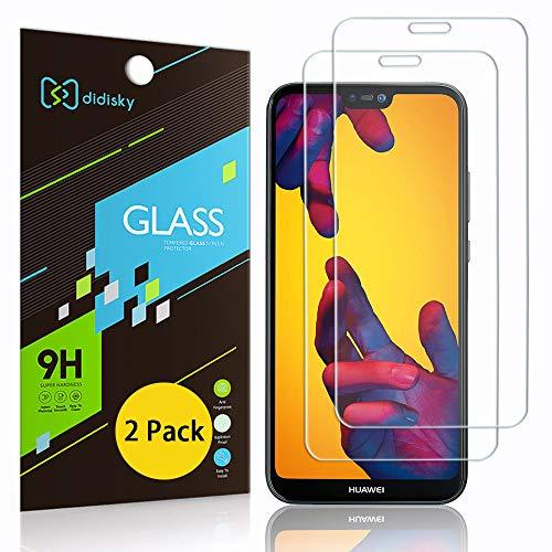 Didisky Pellicola Protettiva in Vetro Temperato per Huawei P20 Lite, [2 Pezzi] Protezione Schermo [ Tocco Morbido ] Facile da Pulire, Facile da installare, Trasparente
