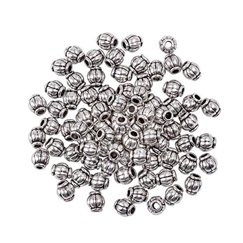 PH PandaHall 750pcs Antique Silver Barrel Spacer Beads Tibetan Alloy Jewelry Bead Charm Spacers for Bracelet Necklace Jewelry Making(4mm, Hole: 1mm)