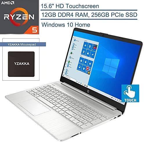 "2020 HP 15.6"" Touchscreen Laptop Computer, Quad-Core AMD Ryzen 5 3500U (Beats i7-7500U), 12GB DDR4 RAM, 256GB PCIe SSD, 802.11ac WiFi, Bluetooth 4.2, Type-C, HDMI, Silver, Windows 10, YZAKKA Mouse Pad"