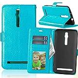 Wenlon Handy PU Hülle für Asus ZenFone 2 ZE550ML Deluxe ZE551ML 5.5inch, Hochwertige Business Kunstleder Flip Wallet Handyhülle mit Card Slot Funktion, Bracket Funktion - Blau