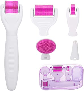 6 in 1 Derma Roller Kit for Face and Body - 0.25mm and 0.3mm Micro Needle Dermaroller with 5 Replaceable Roller Heads, Storage Case and Disinfection Tank