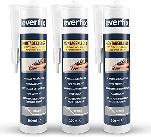 EVERFIX Montagekleber steingrau (3 Stück) für innen und außen, extra starker Kraftkleber für Metall, Holz, Fliesen, etc, Baukleber zum Kleben und Abdichten, 325 g / 290 ml