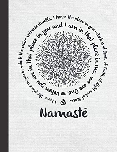 """Namaste: Yoga Notebook With Blank Dot Grid Pages - Creative Mandala Journal for Men Women - Best Gift Idea for Yogis, Teachers, Instructors, Students - Gray Cover 8.5""""x11"""""""