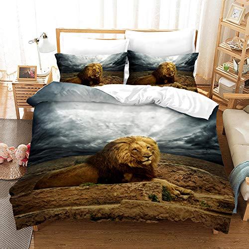 Bedclothes-Blanket Juegos de Fundas para edredón,Impresión de la Mano de Tres Piezas del Regalo de Cama Digital de león Digital-2_245 * 210
