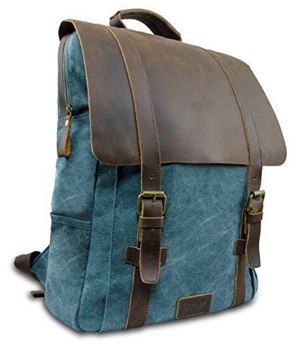 """Laptop Rucksack Retro 15\"""" - Echt Leder Vintage Rucksack für die Uni, Schulrucksack oder Business - universal einsetzbar – Ein lässiger Unisex Backpack / Daypack original von My1St™ (Next Blau)"""