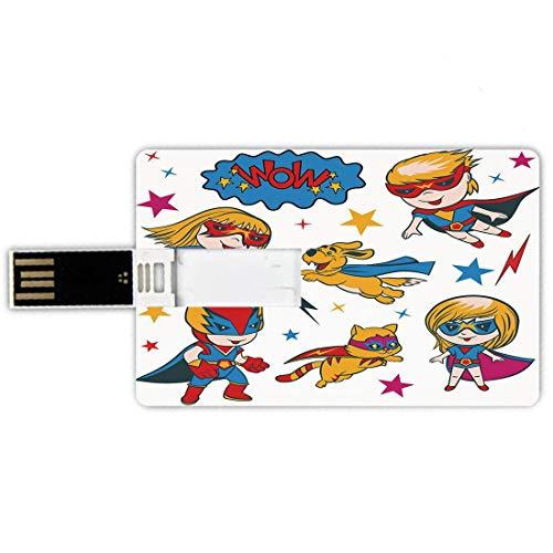 8GB Forma de tarjeta de crédito de unidades flash USB Superhéroe Estilo de tarjeta de banco de Memory Stick Super Kids y Cat Puppy con Power Legendary Comic Strips Imagen de la sala de juegos de la gu