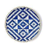 Bandeja de Cesta Tejida de bambú Bandeja Decorativa de Madera rústica para...