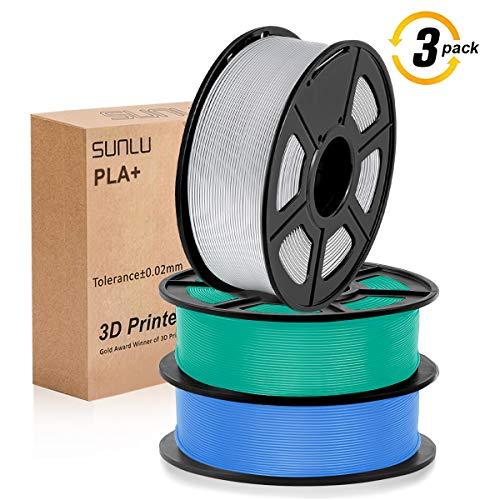 SUNLU 3D filament 1.75, PLA+ Filament 1.75mm, 3KG PLA+ Filament 0.02mm for 3D Printer 3D Pens, BlueGrey + GrassGreen + Silver