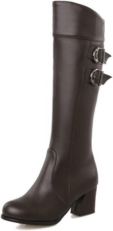 WeiPoot Women's Kitten-Heels Soft Material High-Top Solid Zipper Boots
