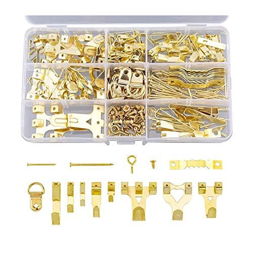 YUNSI Ganchos 266pcs Marco Colgando Ganchos Nails Sawtooth D Anillo y Ojos de Tornillo Surtido de Dibujos de imágenes Kit para Colgar