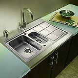 Lavabo da Incasso in Acciaio Inox, Lavabo Cucina Incasso, Lavello da Cucina 2 Vasche con Gocciolatoio, Metallo, Spazzolato, 101x51 cm