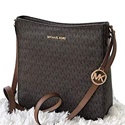 Michael Kors Jet Set Travel Messenger Crossbody Shoulder Bag Signature, Brown Pvc 2019, Large