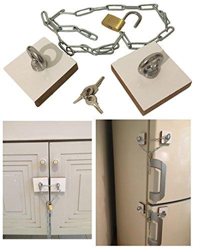 Universeel opzetslot – met adapterplaten – zelfklevend incl. ketting en sleutel – koelkast box keuken eten vergrendelen sluiten – deur kastslot glanzend wit