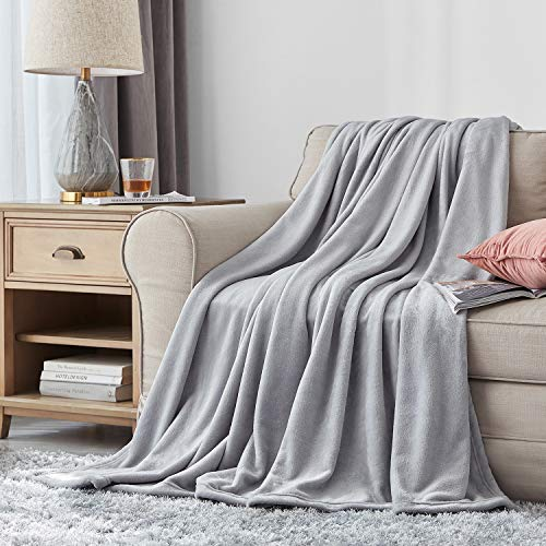 Hansleep Fleece Blanket Sofa Throw - Silver Grey Throw Fluffy Soft Small Throws and Blankets for Beds Settees Couch Chairs Single Size, 130x165cm