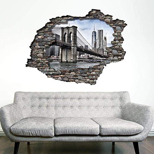 Wallflexi - Adesivi da parete a forma di ponte di Brooklyn, rimovibili, autoadesivi, per camerette, ristoranti, bar, hotel, ufficio, casa, multicolore