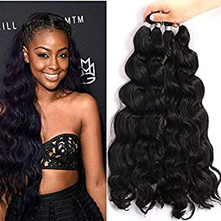 UNA 18inch Ocean Wave Crochet Braids (36strands/Piece Folded, 4Pieces /Pack) Synthetic Crochet Hair Extension (#1B)