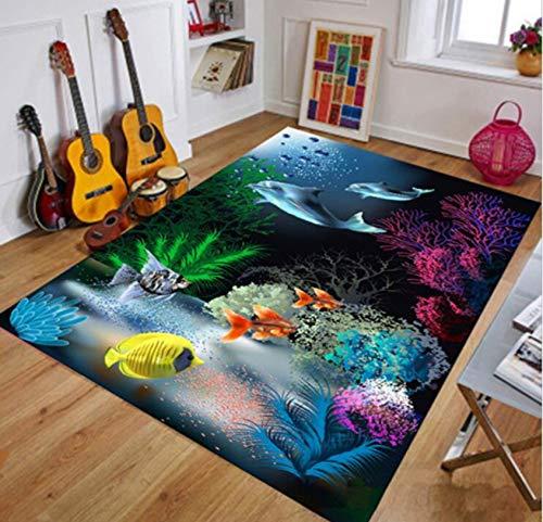 Kinderteppich 3D Unterwasserwelt Klar Texturdruck Kinderzimmer Spiel Kriechmatte Rutschfest 80cmx150cm