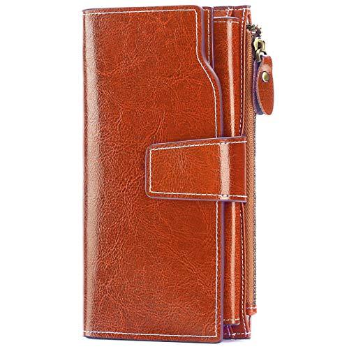 SENDEFN Ladies Purse,Large Capacity Genuine Leather Women's Wallet