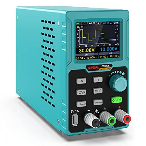 Fuentes de Alimentación Regulables, Fuentes de Alimentación Laboratorio DC Variable 30 V / 10 A, Botón M1-M4 Almacena 4 Conjuntos de...