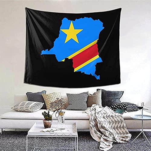 Flagge der Demokratischen Republik Kongo Wanddekor Tapisserie 152 X 130cm Dekor Kunstdecke Dekorative Wandteppiche für Apartment Zimmer Kinder