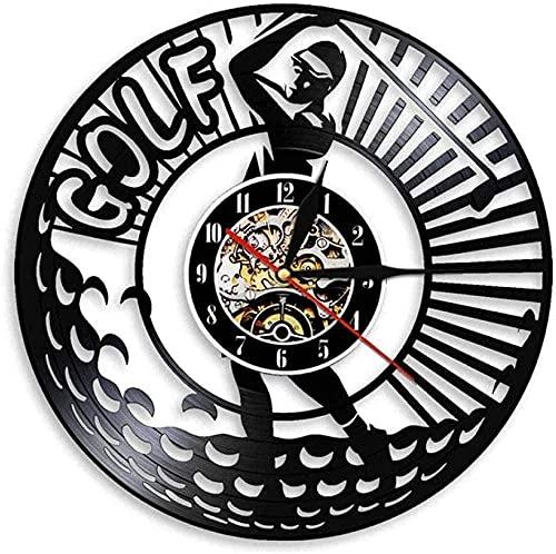 jjyyy Reloj de Pared de Vinilo Reloj de Disco de Vinilo de 12 Pulgadas-Golf Adorno de Reloj Retro Creativo