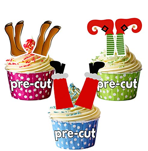 AK Giftshop PRE-CUT Santa, Elf, Reindeer Legs - Edible Christmas Cupcake Toppers/Cake Decoraties (Pak van 12)