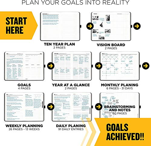 """Product Image 3: Get Stuff Done Planner for Productivity – 13 Week Undated Planner, 8.3"""" x 5.5"""" – Monthly, Weekly And Daily Agenda – Best For Full Focus And Achieving Goals – Personal Organizer for Men & Women"""