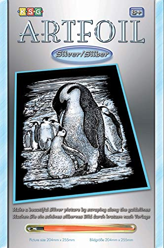 MAMMUT 8250609 - Artfoil, Kratzbild, Tiermotiv, Pinguine, silber, Komplettset mit Kratzbild, Kratzmesser und Anleitung, Scraper, Scratch, Kratzset für Kinder ab 8 Jahre