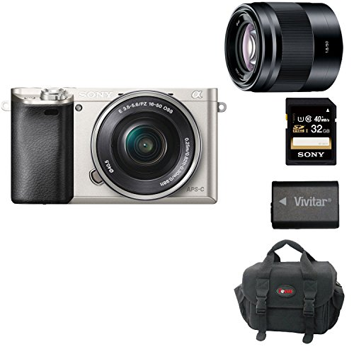 Sony Alpha A6000 Mirrorless Digital Camera with 16-50mm Lens (Silver) + Sony SEL50F18B 50mm f/1.8 Mid-Range Lens for Sony E Mount Nex Cameras (Black) + 32GB Memory Card + Deluxe Accessory Kit