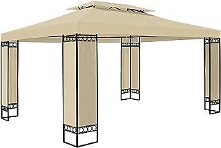 Goliraya Gazebo 3x4 m Gazebo da Giardino Impermeabile Struttura in Acciaio Protezione UV Tendone Padiglione Esterno Patio Feste Colore Crema Antracite