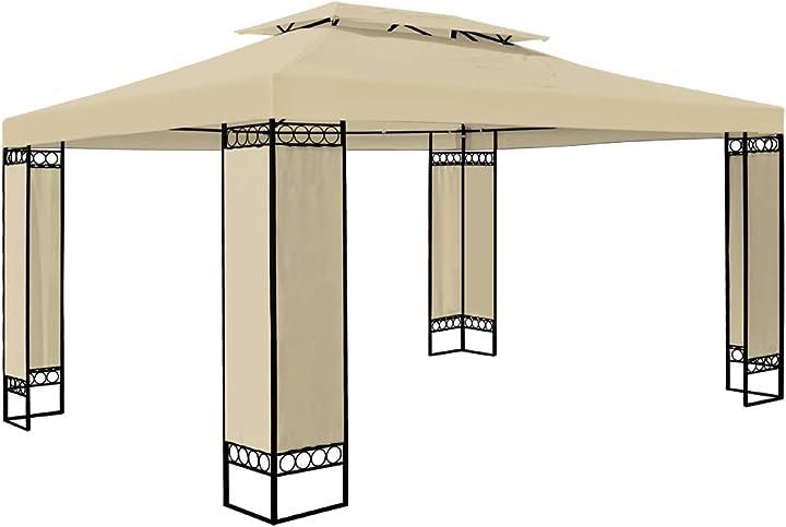 Gazebo da giardino elda 3x4 doppio tetto poliestere uv50+ 12m² tendone padiglione esterno patio feste marrone 102442