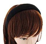 axy Haarreif mit Flanell Haarband Vintage Hairband Stirnband Klassische und modische Haarreifen (Leder Optik) HRK5 (Schwarz)