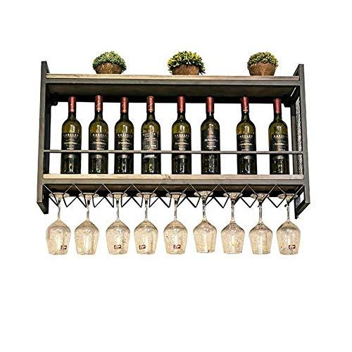 WINEBOT Wijnhouder Industriële Wandmontage Loft Retro Ijzer Metalen Wijnrek Plankje, Wijnfles | Glazen Rekhouder 18 Wijnglas Opslag Eenheid