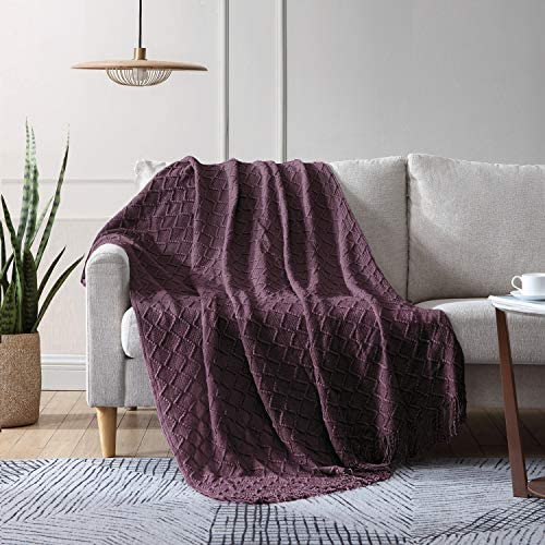 EXQ Home Knit Throw Blanket with Tassels Soft Decorative Textured Solid Woven Blanket for Couch product image