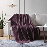 EXQ Home Knit Throw Blanket with Tassels, Soft Decorative Textured Solid Woven Blanket for Couch,Bed,Sofa,Travel, Machine Washable Lightweight Cozy Blanket Suitable for All Seasons(50'×60',Purple)