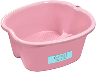 Ownest. Foot Bath Spa,Water Spa and Foot Massage, Sturdy Plastic Foot Basin for Soaking Foot,Toe Nails, and Ankles,Pedicure,Portable Foot Tub-Pink