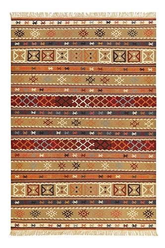 Kelim Teppich aus Bester Wolle, nachhaltig, handgewebt, Naturfaser Teppiche geeignet für Wohnzimmer, Schlafzimmer, Flur, Esprit Home (80 x 150 cm, Sand Braun Bunt)