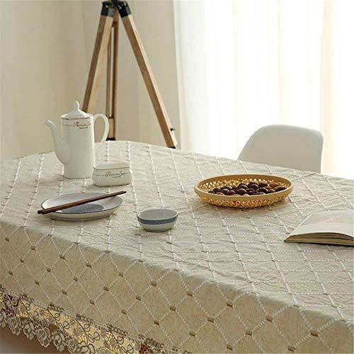SONGHJ Tovaglia in Cotone Pastorale e Lino Ricamato coprimaterasso Rettangolare Copri tavolino Copri tavolino B 150x220cm