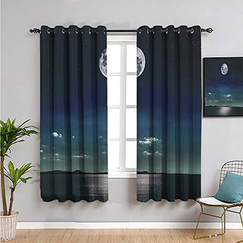 Ocean Bedroom Decor Blackout Shades, Curtains 84 inch Length Full Moon Reflected in The sea Moon Rays Surface Starry Sky Night Scenic View Print Room Darkened W84 x L84 Inch Black Navy