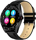 KLT IP68 Waterproof Smart Watch 1 3 Inch HD Full Touch Round Screen Heart Rate Sleep Monitor Sport Smartwatch Fitness Tracker-One Size_Black Leather