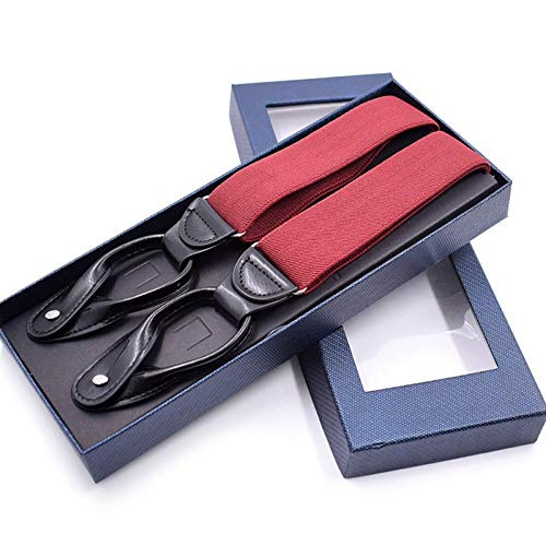 DIAOKUD Braces, Red Hat Unisex Vintage Susp Enders Mannen Braces Verstelbare 6 Button Suspender Elastische Y-Shape Strap Broek Broek