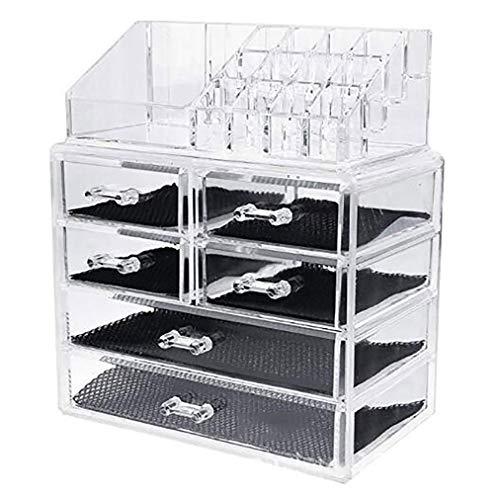 LAM Schublade transparent kosmetische Aufbewahrungsbox, 6 Schubladen Desktop staubdicht kosmetische Aufbewahrungsorganisation für Frisierkommode, Parfüm, Schmuck