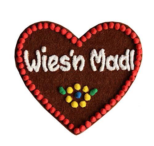 Anstecker Filzherz Wies´n Madl für Junggesellinnenabschied Junggesellenabschied Oktoberfest Dirndl Accessoires mit Namen - Namensschild Herz personalisiert Button Brosche Ansteckbutton